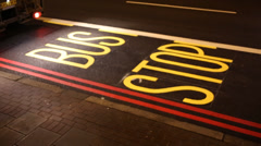 Freshly Written BUS STOP on road Stock Footage