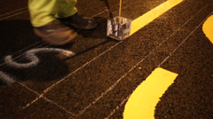 Road Worker Painting Letters On Road Stock Footage
