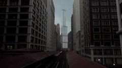 Chicago metro between builings Stock Footage