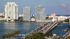 Aerial view of South Beach, Miami, Florida Stock Footage