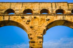 Detail of pont du gard aquaduct bridge pillars Stock Photos