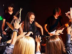 Band playing musical  instrument. Stock Photos