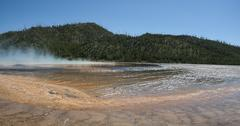 midway geyser basin in yellowstone national park - stock photo