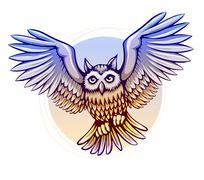 flying cartoon owl with color wings - stock illustration
