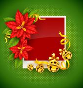 Christmas greeting card with poinsettia flowers and gold jingle bells - stock illustration