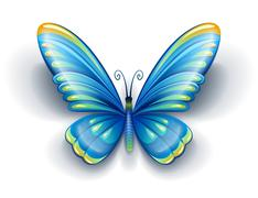 blue butterfly with color wings - stock illustration