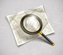 Loupe magnifying glass tool with streets paper map Stock Illustration
