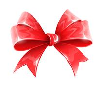 red bow for holiday gift decoration - stock illustration