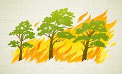 burning forest trees in fire disaster - stock illustration