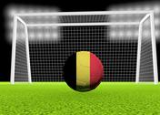 Stock Illustration of soccer belgium flag over soccer ball, in front of the net, 3d render