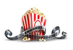Paper bag with popcorn and movie reel Stock Illustration