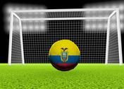 Stock Illustration of soccer ecuador flag over soccer ball, in front of the net, 3d render