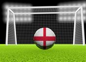 Stock Illustration of soccer england flag over soccer ball, in front of the net, 3d render