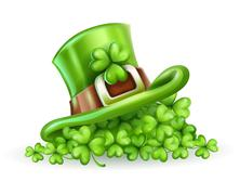 Cap of Saint Patrick in the clover - stock illustration