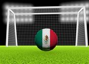 Stock Illustration of soccer mexico flag over soccer ball, in front of the net, 3d render