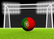Stock Illustration of soccer portugal flag over soccer ball, in front of the net, 3d render