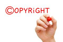 copyright concept red marker - stock illustration