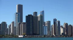 Chicago Skyline from Lake Michigan on a sunny day - stock footage