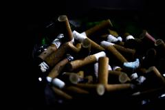 cigarette butts in an ash tray - stock photo