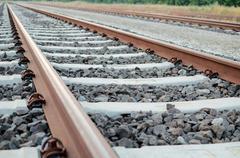 railway tracks close-up - stock photo