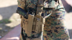 Marines  qualify with the pistol through the new Combat Pistol Program Stock Footage