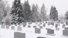 Cemetery in Winter Stock Footage