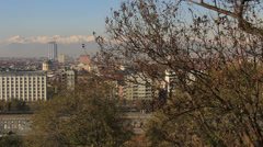 Tree next to view of Torino & mountains, Italy Stock Footage
