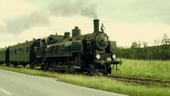 Steam train engine. nostalgic train ride. slow motion Stock Footage