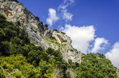 Beautiful rock and amazing sky background in to the mountain of Navarra Stock Photos