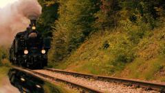 Steam engine. train locomotive. nostalgic ride. tourist attraction Stock Footage