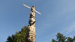 Totem Pole Camera Move, Vancouver Stock Footage