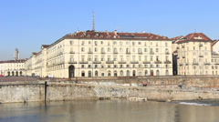 River Po in Torino, Italy Stock Footage