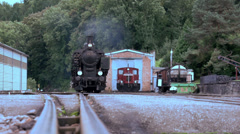 steam engine. train locomotive. nostalgic. smoke puffing - stock footage