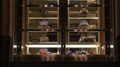 Italian goods. Handbags on display. Stock Footage