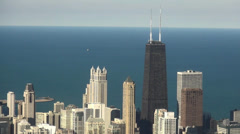 Hancock Building City of Chicago daylight aerial shot - stock footage