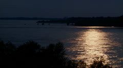 Moonlight on the Mississippi River, Summer, Memphis TN Stock Footage