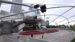 Jay Pritzker Pavilion open-air stage at Chicago Millennium Park Stock Footage