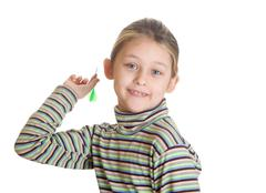 girl playing darts - stock photo