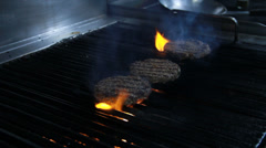 Burger Patties Being Grilled Stock Footage