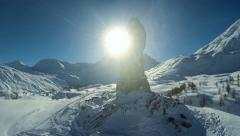 snow winter landscape. mountains nature. stone hawk statue. recreation resort - stock footage