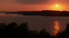 Sunset over the Mississippi River, Summer, Memphis TN Stock Footage