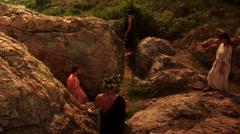 Thracian ritual in Thracian sanctuary Stock Footage