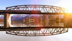 Train traveling. train crossing bridge. transit transportation. railroad railway Stock Footage