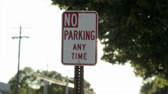 No Parking Sign Pan Stock Footage