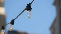 Chain of lights lightbulbs Stock Footage