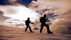 Snow shoe hiking. tour trip traveling. hikers walking winter. expedition Stock Footage