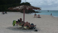 Stock Video Footage of Antigua Island Caribbean family beach resort pan HD 1217