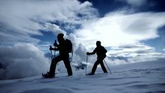 Tour trip traveling. hikers walking winter. expedition. snow lanscape Stock Footage