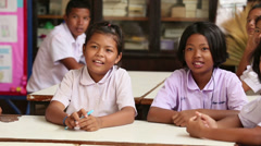 Asian Gradeschool Students In Classroom Stock Footage