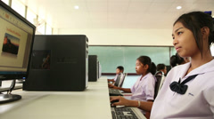 Asian High School Students Working In Computer Lab Stock Footage
